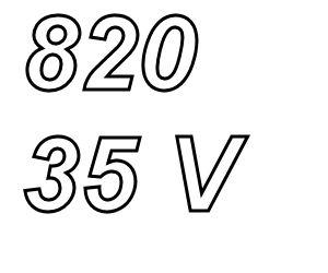 PANASONIC FC,  820uF/35V Radial electrolytic capacitor
