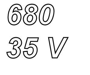 PANASONIC FC,  680uF/35V Radial electrolytic capacitor<br />Price per piece
