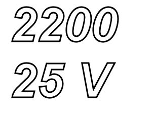 Elco, 2200uF/25V, pitch 7,5mm, 105º, low ESR, 10.000hrs<br />Price per piece