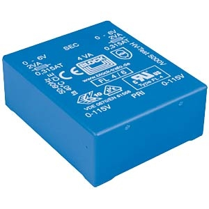 BLOCK FL Transformer, low profile, PCB mount, 4VA, 2x6V<br />Price per piece