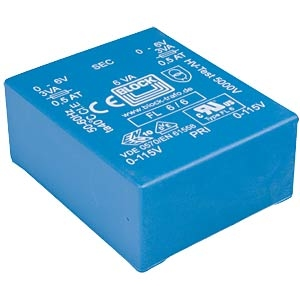 BLOCK Transformer, PCB mount, 5VA, 2x9V<br />Price per piece