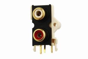 KACSA RJ-152G, PCB mountable RCA inlet, 1x stereo, gold plat