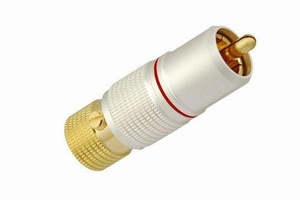KACSA RP-245GT, Gold plated lock-in type RCA plug with pearl