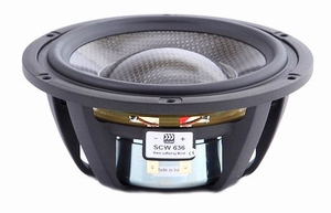 "MOREL SCW-636, 6"" bass/midrange, Carbon fibre/Rohacell cone"