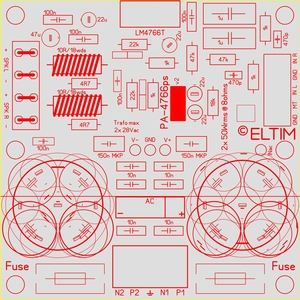 ELTIM PA-4766ps LP, 2x50W Amplifier/power supply module<br />Price per piece