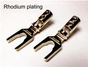 PURESONIC Spring Spade Terminal, rhodium plated, screw/solde