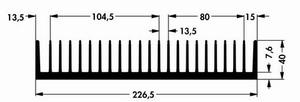 Kühlkörper V7494E, 226,5x50x40mm<br />Price per piece