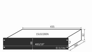 """MODU Slimline 1SL02280N, 2U/19"""" zwart front, 280mm diep<br />Price per piece"""