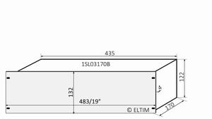 "MODU Slimline 1SL03170B, 3U/19""  silver front, 170mm deep"