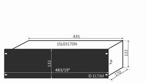 """MODU Slimline 1SL03170N, 3U/19""""  black front, 170mm deep"""