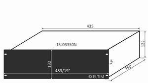 """MODU Slimline 1SL03350N, 3U/19"""" Schwarzes Front, 350mm Tief<br />Price per piece"""