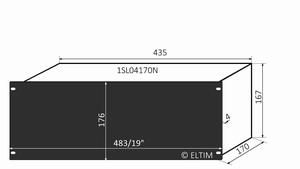 """MODU Slimline 1SL04170N, 4U/19""""  black front, 170mm deep"""