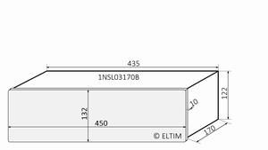 MODU Slimline 1NSL03170B, 10mm  silver front, 170mm deep