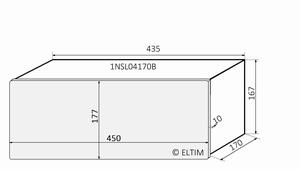 MODU Slimline 1NSL04170B, 10mm Silber Front, 170mm Tief<br />Price per piece