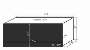 MODU Slimline 1NSL04170N, 10mm zwart front, 170mm diep<br />Price per piece
