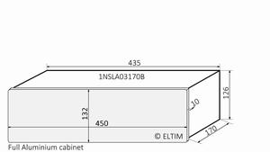 MODU Slimline 1NSLA03170B, 10mm zilver front, FA, 170mm diep<br />Price per piece