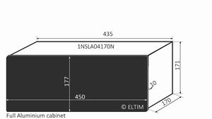MODU Slimline 1NSLA04170N,10mm black front, FA, 170mm deep
