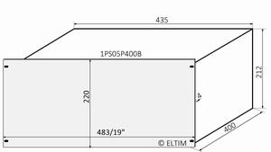 "MODU Pesante 1PS05P400B, 5U/19"" zilver front, diepte 400mm<br />Price per piece"