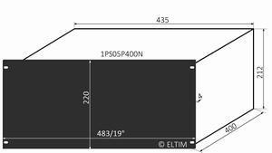"MODU Pesante 1PS05P400N, 5U/19"" schwarzes Front, Tiefe 400mm<br />Price per piece"