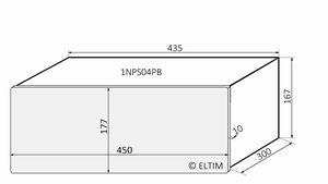 MODU Pesante 1NPS04PB, 10mm zilver front, diepte 300mm<br />Price per piece
