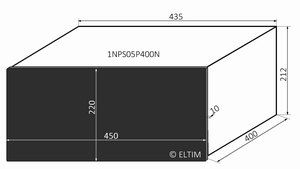 MODU Pesante 1NPS05P400N, 10mm zwart front, diepte 400mm<br />Price per piece