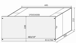"MODU Dissipante 1PD05400B, 5U/19"" silber Front, Tiefe 400mm<br />Price per piece"