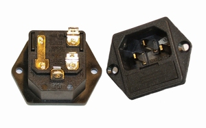 KACSA PC-1250F, 230V Euro inlet, goldplated, with fuseholder<br />Price per piece