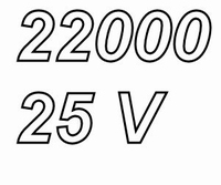 MUNDORF MLGO, 22000uF/25V, ±20% Electrolytische condensator<br />Price per piece