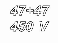 MUNDORF MLAL, 47+47uF/450V, ±20%, Electrolytic capacitor