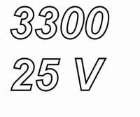PANASONIC FCA,  3300uF/25V electrolytic capacitor, radial, 1