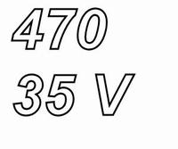 PANASONIC FRA, 470uF/35V electrolytic capacitor, radial, 105