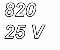 PANASONIC FRA, 820uF/25V electrolytic capacitor, radial, 105