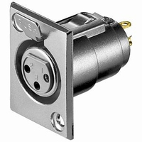 XLR chassis connector, 3 pole, female
