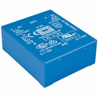 BLOCK Transformer, low profile, PCB mount, 4VA, 2x6V<br />Price per piece