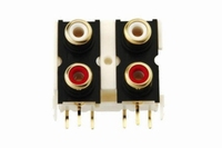 KACSA PCB mountable RCA inlet, 2x stereo, gold plated<br />Price per piece
