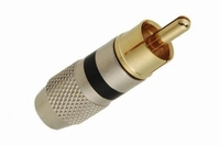 RCA connector, gold plated with aluminium barrel for 6mm cab<br />Price per piece