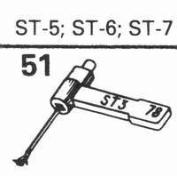 B.S.R. ST-5, ST-6 Stylus, sapphire normal (78rpm) + sapphire