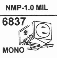 NAGAOKA NMP-1.01.0 MIL MONO Stylus, DM-OR<br />Price per piece