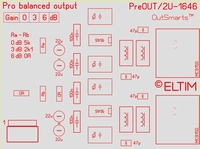 ELTIM Pre 330 Balanced OUT buffer module, THAT1646 IC's, 3U