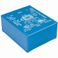 BLOCK Transformer, low profile, PCB mount, 6VA, 2x9V