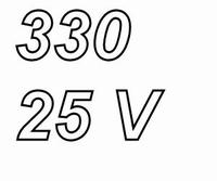 PANASONIC FRA, 330uF/25V electrolytic capacitor, radial, 105