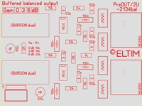 ELTIM PreOUT 2U-2134bal, XLR balanced OUT buffer module, 2U