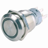 Taster RVS Ø19mm mit leuchtender Ring (24v), 5A, 250V, IP67<br />Price per piece