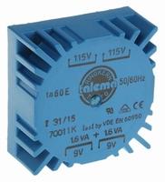 TALEMA Toroidal transformer, PCB mount, 3,2VA, 2x115V>2x9V