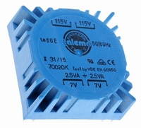 TALEMA Ringkern Transformator, 5VA, 2x115V>2x7V<br />Price per piece