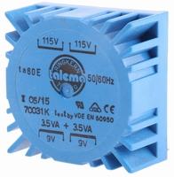 TALEMA Toroidal transformer, PCB mount, 7VA, 2x115V>2x9V<br />Price per piece
