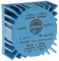 TALEMA Toroidal transformer, PCB mount, 7VA, 2x115V>2x12V