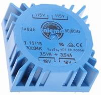 TALEMA Toroidal transformer, 7VA, 2x115V>2x18V<br />Price per piece