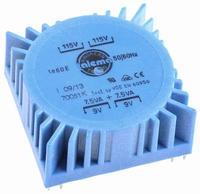 TALEMA Ringkern Transformator, PCB montage, 15VA, 2x115V>2x9