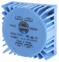 TALEMA Ringkern Transformator, PCB montage, 15VA, 2x115V>2x2